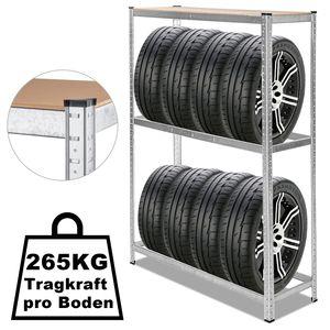 karpal Reifenregal verzinkt Lagerregal rostbestaendig, 8 Reifen Reifenstaender Werkstatt Steckregal Regal, 120 x 40 x 180 cm