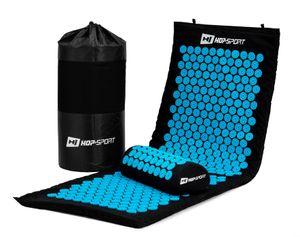 Hop-Sport Akupressur-Set XL extra lange Akupressurmatte mit Kissen zur Entspannung, Stimulation und Meditation + Transporttasche (rot)  - Blau