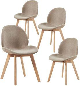 HJ WeDoo 4er Set Polsterstuhlset Esszimmerstühle mit Sitzfläche aus Leinen Vintage Design und Buchebeine, Cremig Grau
