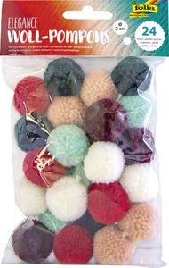 """folia Woll-Pompons """"Elegance"""" 24 Stück farbig sortiert"""