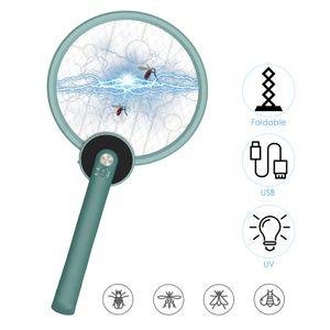 Faltbarer Bug Zapper Mosquito Killer USB wiederaufladbarer elektrischer Fliegenklatscher USB wiederaufladbarer UV-Moskito-Trapper Leistungsstarkes 2200-V-Netzsicherheits-3-Lagen-Netz