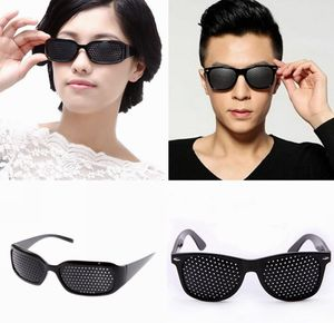 2er Set Rasterbrille/Lochbrille schwarz für Augentraining zur Entspannung Pinhole Glasses Gitterbrille mit faltbaren Bügeln.