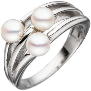 JOBO Damen Ring 54mm 925 Sterling Silber rhodiniert 3 Süßwasser-Perlen Perlenring