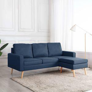 3-Sitzer-Sofa mit Hocker Blau Stoff