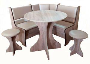Essecke Rom klein platzsparend in beige Eckbankgruppe 4 TLG. Tisch rund, Truhenbank Kinderzimmer, Küche, Hocker