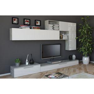Modernes Design Grau und Weiß Lackiertes Wohnzimmerwandsystem BeverlyHöhe (cm): 200, Breite (cm): 270, Tiefe (cm): 45, Zusammensetzung: Wood, Modelle: BEVERLY, Länge (cm): 45, Färbung: White