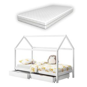 [en.casa] Kinderbett mit Matratze 90x200cm Weiß mit 2 Schubladen Haus Design Kiefernholz Bett mit  Kaltschaummatratze  Standard 100 Allergikergeeignet Atmungsaktiv