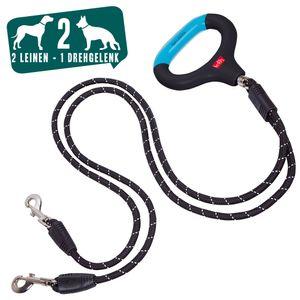 Wigzi Doppelleine mit Gelgriff Nylon Hundeleine ca 1,3 m mit Drehgelenk für zwei Hunde bis je ca 25 Kg