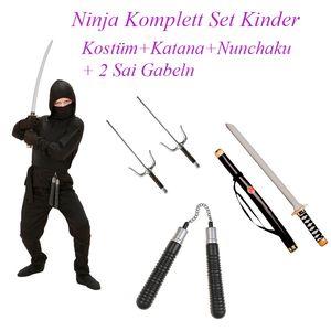 NINJA KOSTÜM KOMPLETTSET KINDER + Schwerter,  Nunchaku # Gr. 140
