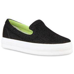 Mytrendshoe Damen Plateau Sneaker Glitzer Slip On Turnschuhe Freizeit Slippers 810626, Farbe: Schwarz, Größe: 39
