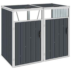 Mülltonnenbox für 2 Mülltonnen Anthrazit Stahl Mülltonnenverkleidung