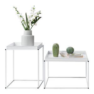 [en.casa] 2er Set Tabletttisch Weiß mit Abnehmbaren Servierplatten Beistelltisch Set Serviertisch Doppelt Couchtisch Sofatisch