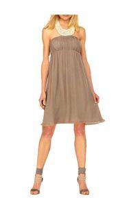 APART Chiffon-Abendkleid m. Perlen, taupe Schnäppchen Größe: 40