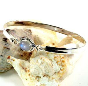 Boho Silberarmreifen mit Halbedelstein - Mondstein, SterlingSilber, 7*5 cm, Armreifen & Armbänder aus Silber
