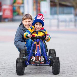 COSTWAY Gokart mit verstellbarem Sitz, Go Cart mit Handbremse, Tretauto bis 30kg belastbar, Pedal Gokart, Tretfahrzeug, Pedalfahrzeug, Kinderfahrzeug für Kinder von 3-6 Jahren Blau