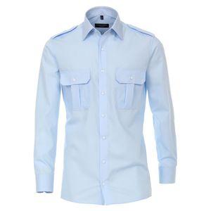 Größe 42 Casamoda Hemd Pilotenhemd mit Schulterklappen Hellblau Uni Langarm Modern Fit Leicht Tailliert Kentkragen 2 Brusttaschen Kombimanschette100% Baumwolle Bügelfrei