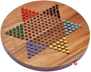 Halma Gr. XL für 2 bis 6 Spieler - Spielfeld 31 cm rund - Stern Halma - Chinese Checkers - Gesellschaftsspiel aus Holz mit zusammenklappbarem Spielbrett