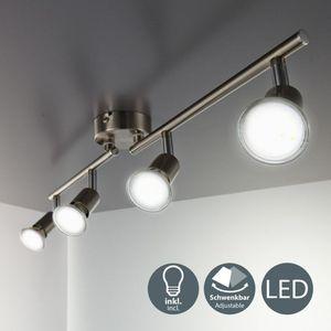 LED Deckenleuchte 4-flammig Schwenkbar Drehbar inkl. 3W Leuchtmittel GU10 IP20 250 Lumen Deckenstrahler Warmweiss Metall/Matt-Nickel B.K.Licht