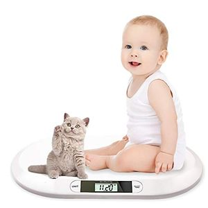 karpal Babywaage Flach Digitalwaage Stillwaage Tierwaage, fuer Neugeborene bis 20kg mit LCD-Display, Tara Funktion, automatische Abschalt, Weiss (56cm x 35cm x 4.5cm)¡