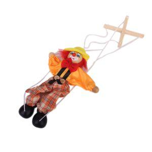 1pc Schöne lustige Holz Clown Marionette Marionette für Kinder Vorschulspiel