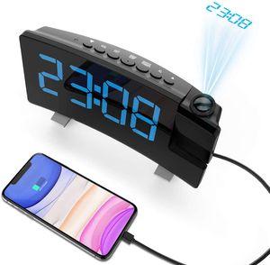 Projektionswecker, Wecker Digital mit Projektion, Radiowecker mit USB-Anschluss, Dual-Alarm, 5 Alarmtöne mit 3 Lautstärke, 0-100% Helligkeitsdimmer, 4 Projektionshelligkeit, 30 FM Radio