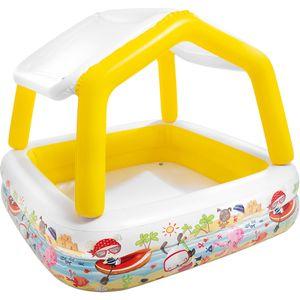 INTEX Planschbecken - 'Sun Shade' (gelb, 157x157x122cm) Kinderplanschbecken mit Sonnenschutz