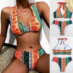 Women Fashion Print Bandage Camisole Two-piece Swimsuit Bathing Suit Bikini Größe:L,Farbe:Bunt