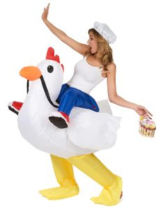 Aufblasbares Huckepack-Kostüm Huhn weiss-blau-gelb