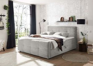 WINNIPEG Polsterbett 180 x 200 cm inkl. Bettkasten Silber, Ausführung:Variante 2