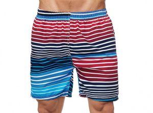 Max Men Herren Bade Hose Kurze Schwimmhose Gestreift, Farben:Blau-Rot, Größe Shorts:L