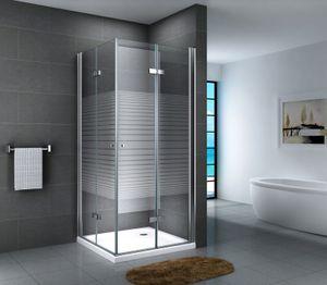 Glasdusche Lahn Set 5 cm, Ausführung:Gestreift, Größe:90 x 90 x 190 cm, Duschtasse:ohne Duschtasse und Ablauf