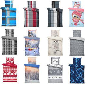 Thermofleece Bettwäsche 4 teilige / 2 teilige Flausch Garnitur Bettbezüge Set, Größe:2 teilig   135x200 cm, Farbe:Sterne blau