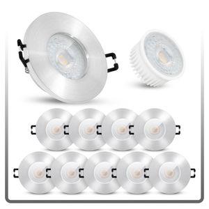 10er Set flache LED Einbaustrahler IP65 in gebürsteter Optik mit LED 5W warmweiß 230V