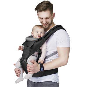 Hikeren Bauchtragen,Treppy baby Carrier für 3.5-20kg ,Ergonomische Babytrage Bauchtrage, Leichtes Tragen,Dunkelgrau