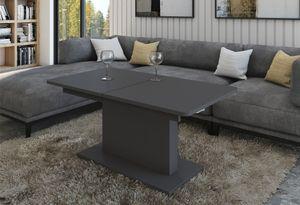 Design Couchtisch Tisch DC-1 Anthrazit / Grau matt stufenlos höhenverstellbar ausziehbar Esstisch