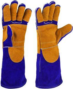 Schweißerhandschuhe Leder 16 Inch Hitzefest Grill Handschuhe Lange Ärmel BBQ Schweißen Handschuhe Blau+Orange