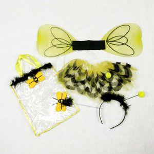 Mädchen Bienen Kostüm-Set (Rock, Haarreif, Flügel & Stab) Größe: 104-116