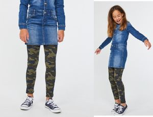 GKA Kinder Leggings Camouflage Gr. 140/146 grün Army Print Hose weich Mädchen Tarnfleck