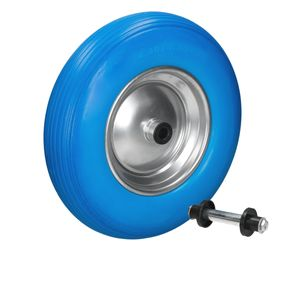 ECD Germany Schubkarrenrad aus pannensicherem PolyurethanVollgummi mit Achse - Reifen mit Stahlfelge - 4.80/4.00-8 - Durchmesser 390 mm - Blau - Ersatzrad Gummirad Schubkarren Rad
