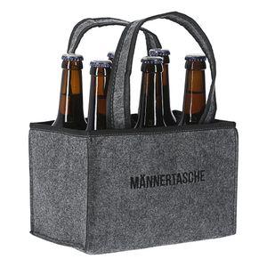 """Flaschenträger """"Männertasche"""" für 6 Flaschen - bestickt - 22 x 15 cm in grau"""