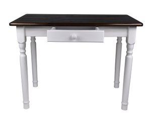 Esstisch mit Schublade Küchentisch Tisch Massiv Kiefer Speisetisch massiv (80x80 cm, Nussbaum)