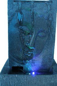 Zimmerbrunnen mit LED Buddha Brunnen Dekobrunnen schwarz/grau
