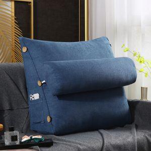 Ergonomisches Rückenkissen mit Nackenrolle Keilkissen für Sofa Bett 60x22x50cm -Dark Blue