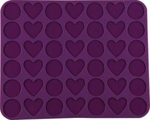"""Dr. Oetker Silikon-Macaronmatte """"Herzen & Kreise"""" 42er, Silikonmatte zur Herstellung von Macarons in Herz- und Kreisform, hervoragende Antihafteigenschaften - spülmaschinengeeignet (Farbe: Lila), Menge: 1 Stück"""