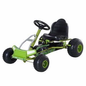 HOMCOM Kinder Go Kart Tretauto Pedalfahrzeug mit Handbremse ab 3 Jahre Grün 95 x 66,5 x 57cm