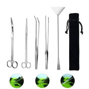 5 Stueck / Set Aquarium Wartungswerkzeuge Wasserpflanzen Pinzette Scheren Spatel Werkzeugset