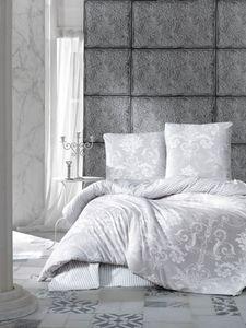 Bettwäsche 200x200 cm. Grau, 100% Baumwolle/Renforcé, 3 teilig set Wende Bettbezug Alone V1
