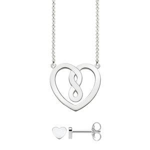 Thomas Sabo Damen-Halskette Herz mit Ohrring 925 Sterling Silber 42 cm Infinity SET0557-001-21-L42v