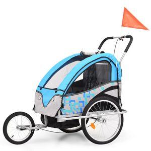 Huicheng 2-in-1 Kinderanhänger Fahrradanhänger Jogger Anhänger Kinderfahrradanhänger Blau und Grau
