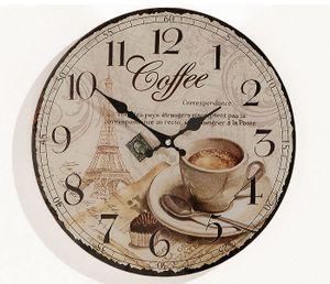 Wanduhr Holz  Coffee Kaffee Cafe Espresso Cappuccino Uhr Holzuhr